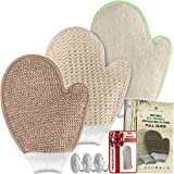 Facial Hair Removal Mitt - Bath Exfoliating Shower Gloves Health Set! 3 Scrubber Exfoliation Dry Spa Mitts Kit: Remove Dead Skin and Make Your Body Soft with Thick Bamboo Loofah, Medium Sisal & Thick Jute. Back, Neck & Face Use