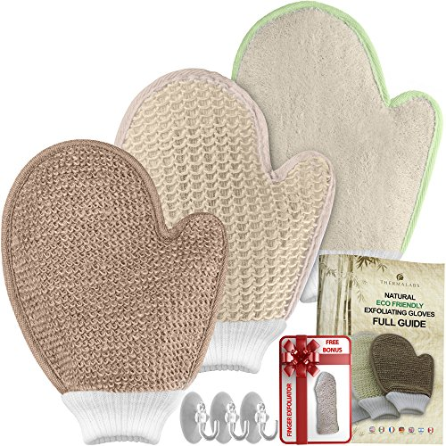 Bath Exfoliating Shower Gloves Health Set! 3 Scrubber Exfoliation Dry Spa Mitts Kit: Remove Dead Skin and Make Your Body Soft with Thick Bamboo Loofah, Medium Sisal & Thick Jute. Back, Neck & Face Use (Mitts Spa)