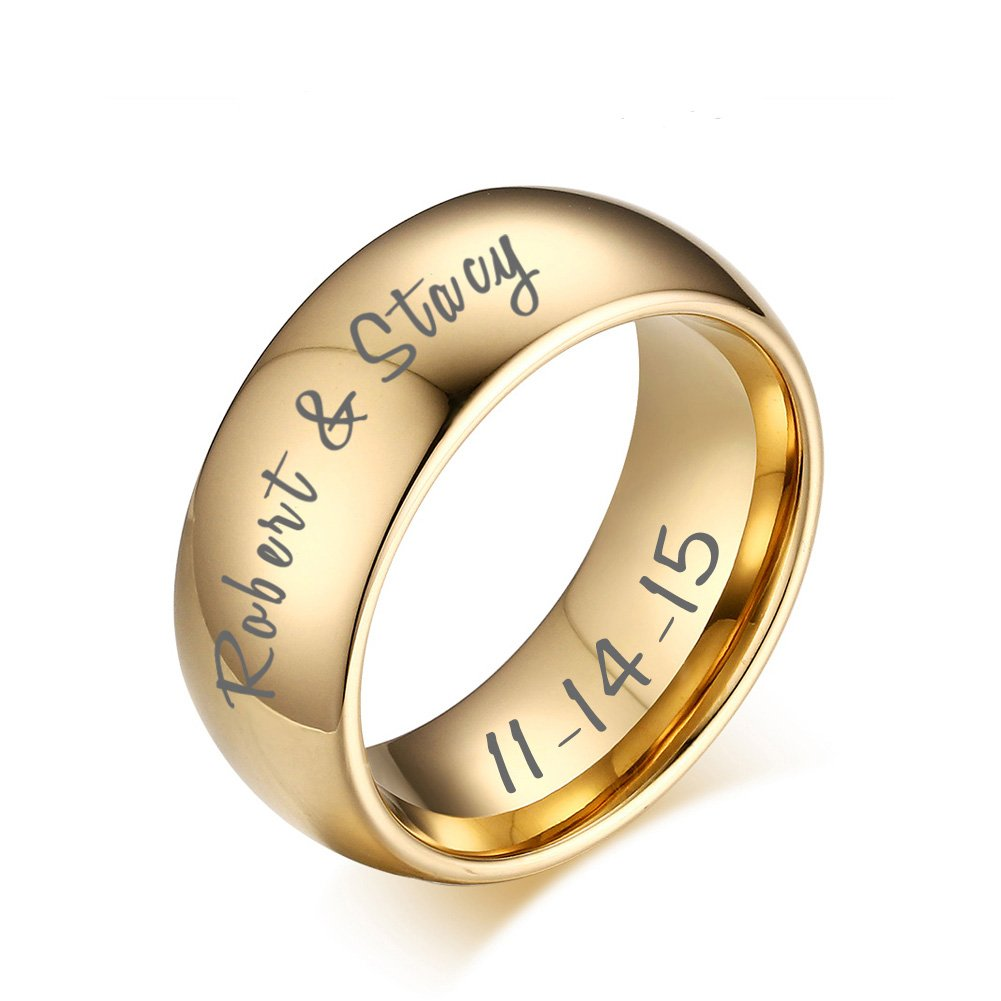 VNOX Custom Engraving Gold Plated Tungsten Carbide Wedding Band Promise Engagement Ring for Men Women, Size 11