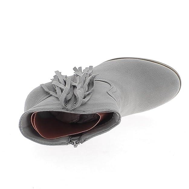 Bottines grises à franges talon épais de 7cm look daim doublées C3DK8F2w35