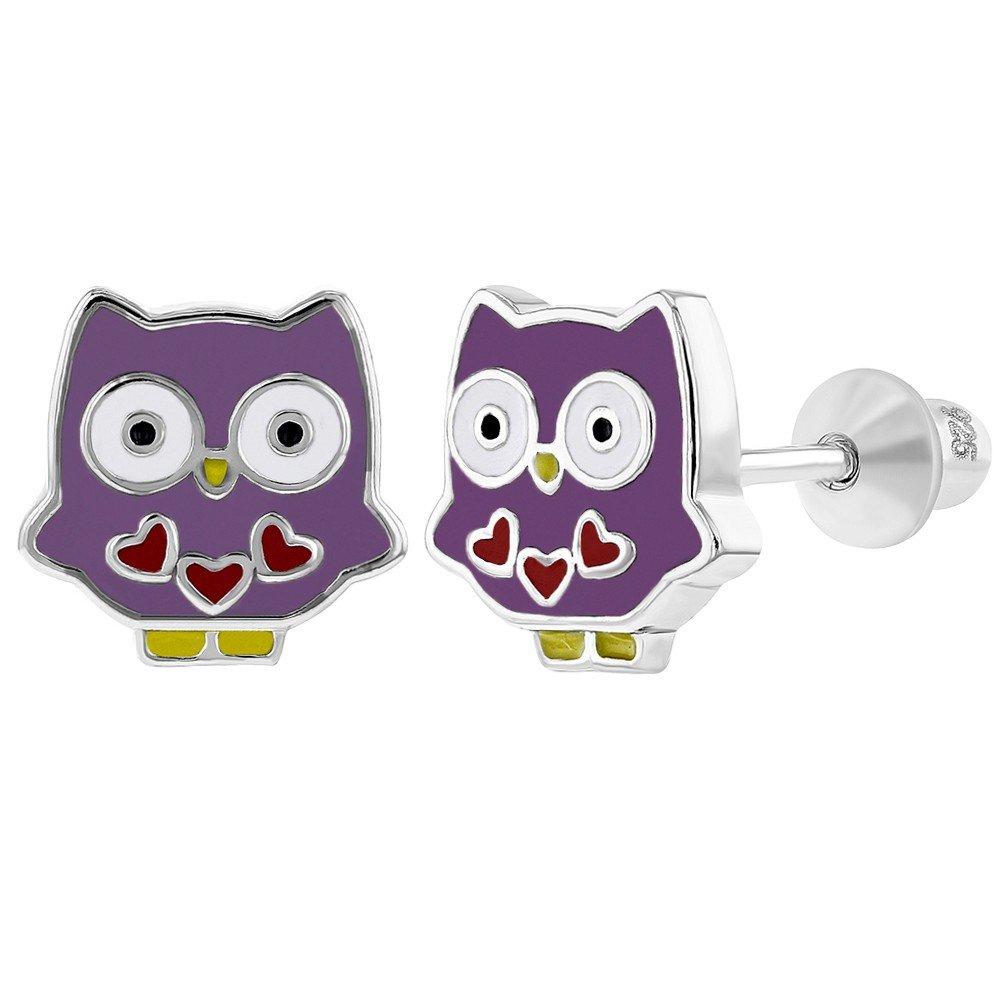 925 Sterling Silver Purple Enamel Owl Earrings Fun Screw Back for Toddlers Girls