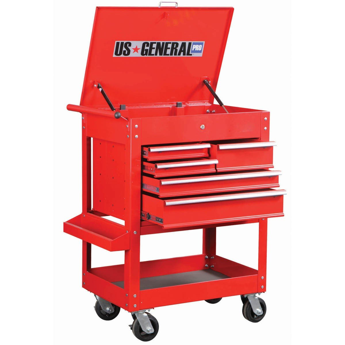 amazon com 30 inch 5 drawer 704 lb capacity glossy red tool cart