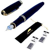 Writers Pens Baoer 388 Black Fountain Pen Set - Black Velvet Sleeve, 10 Black Ink Cartridges - Medium Nib, Black Barrel with Gold Colour Trims, Removable Ink Converter