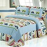 RuiHome 3-Piece Quilt Bedspread Set Boys Cars Trucks Print Comfy Bedding, Queen Size, Cotton