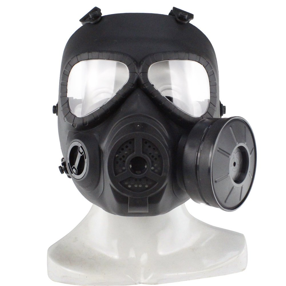 Tactical Skull Face Mask - Airsoft Facefull Mask - Hunting Tactical Skull V4 Cosplay Toxic Full Face M04 CS Safety Gas Mask - Black (Military Hunting Tactical Face Mask)