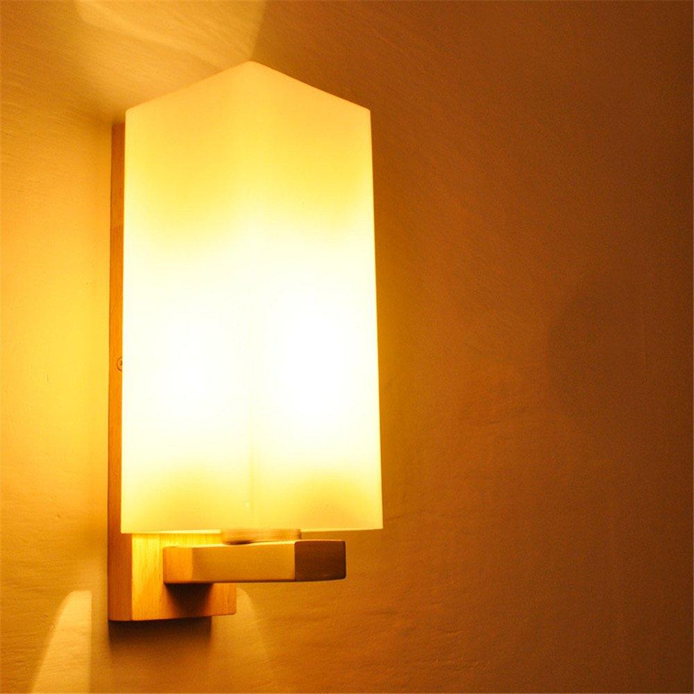 Amadoierly E27 Beleuchtung Wandleuchte Moderne Minimalistische Massivholz LED Schlafzimmer Nachttisch Wohnzimmer Esszimmer Balkon Kreative Mode Wandleuchte