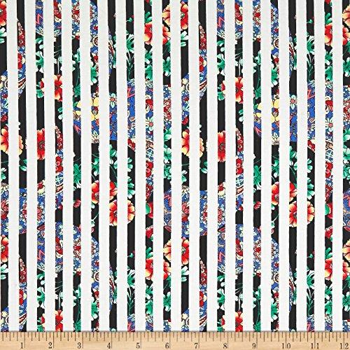 TELIO 0572562 Morocco Blues Cotton Spandex Poplin Floral Stripe Black Fabric by The - Poplin Cotton Skirt Floral