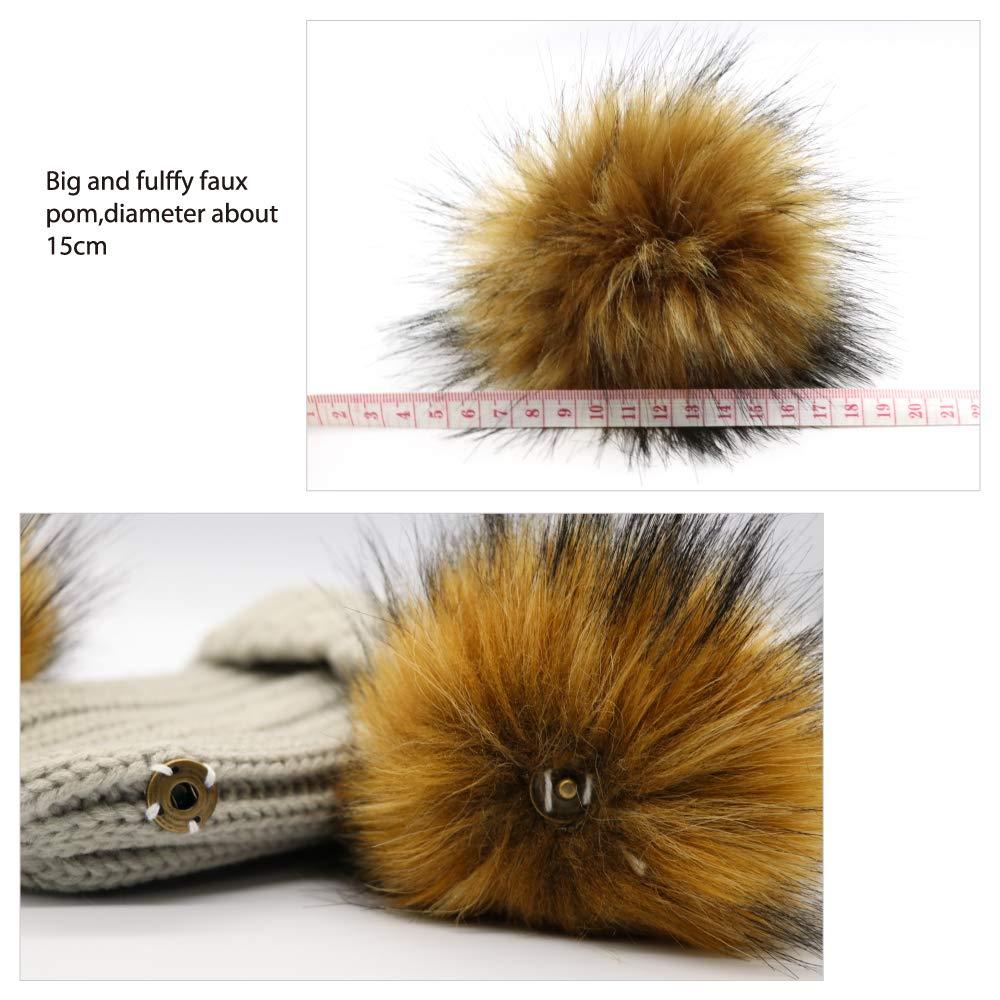 e7ff6dfacb70 Lvaiz Kids Faux Raccoon Fur Ball Pompom Ears Winter Bobble Hat Knitted  Double Pom Cap Kids Beanie ...
