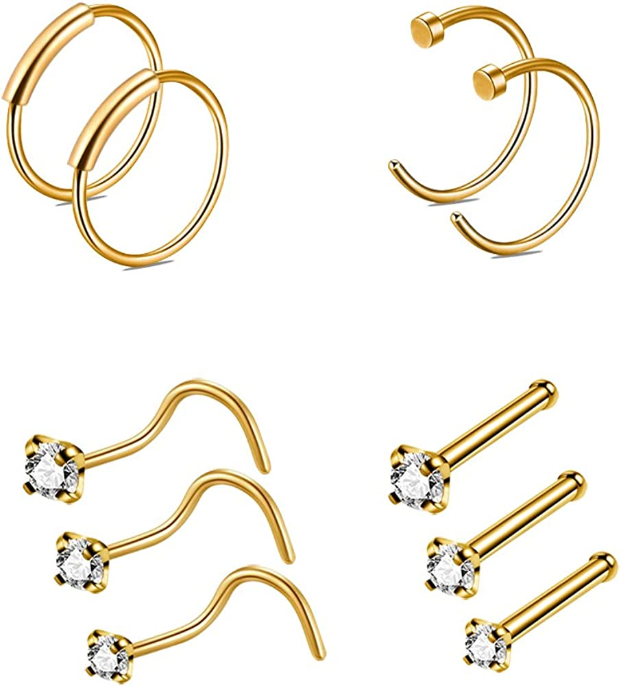 Amazon Com Crazypiercing Nose Ring Hoop 10pcs 22g Nose Rings
