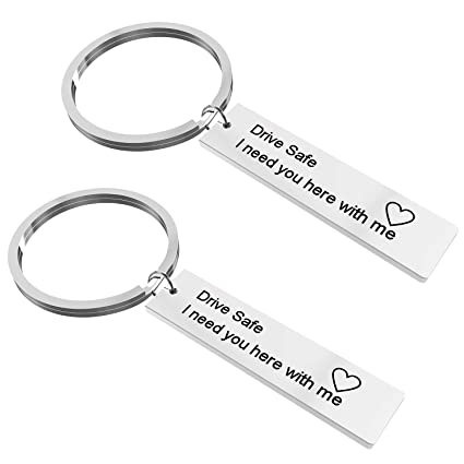 2 Pack?Drive Safe Keychains, I Need You Here with Me Keychain for Trucker  Husband Dad Boyfriend Gift Valentines Day Gift Christmas Gift?Stocking
