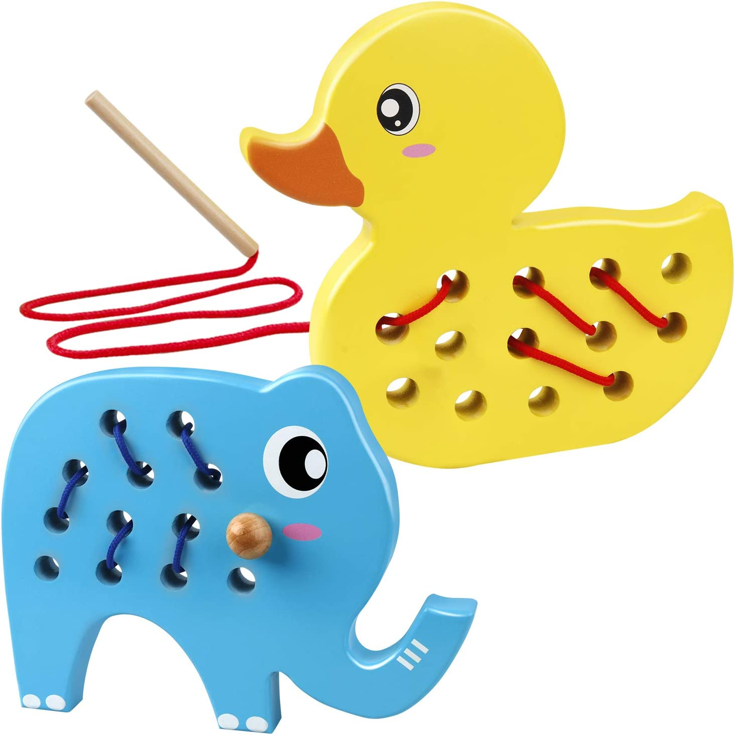 Coogam Wooden Lacing Duck and Elephant, 2PCS Animals Fine Motor Skills Threading Toys, Airplane Car Travel Game Montessori Cognition Preschool Puzzle Gift for 1 2 3 Years Old Toddlers Baby Kids