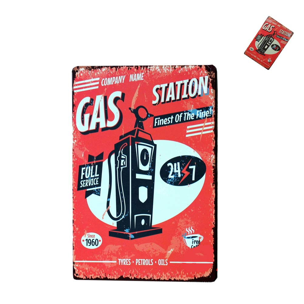 bars boutiques 20 30CM Station de gaz Plaques Vintage de licence num/érique Pancarte de M/étal Tin Connectez-vous pour les pubs