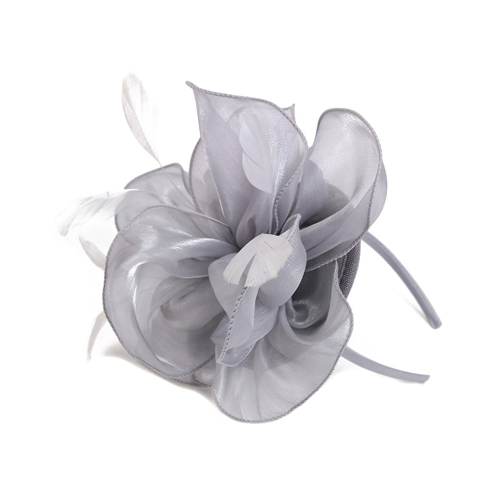 Song Qing Fascinator Women Ladies Silk Yarn Feather Hair Hoop Cocktail Party Wedding Sinamay Headband (Grey)