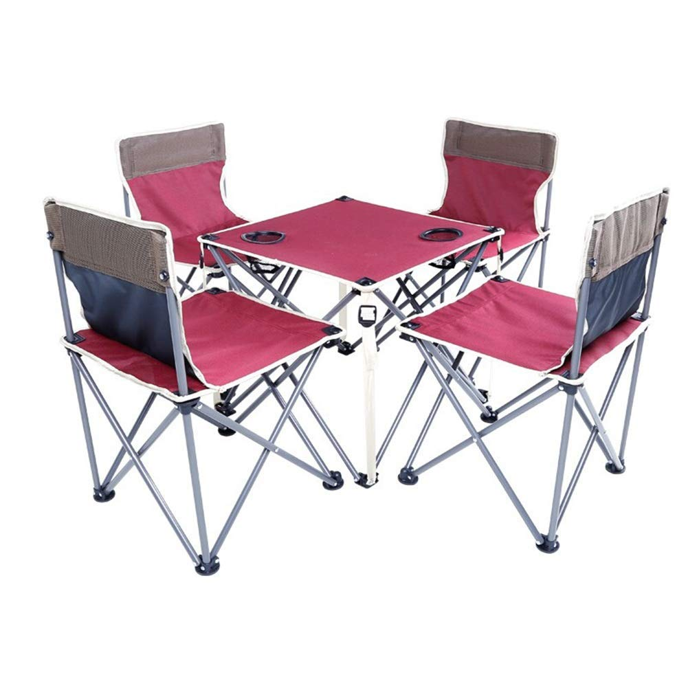 Dongyアウトドア折りたたみテーブルとチェアセット釣り椅子スツールポータブルアウトドア旅行テーブルとチェアレジャーシート(5セット)(カラー:RED) B07T5K939H Red