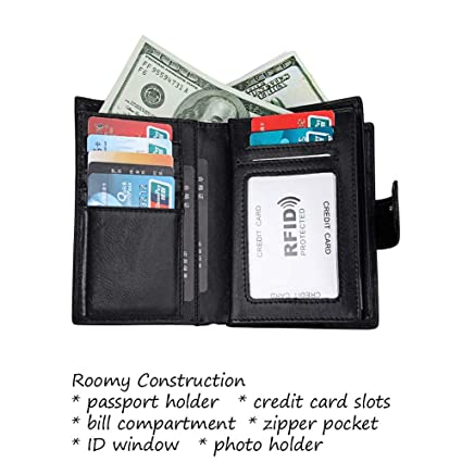Porta Pasaporte Carteras de Piel para Hombre Mujer RFID Bloqueo Tarjetas de Crédito Monedero Silm Billetera Cremallera Negro: Amazon.es: Equipaje