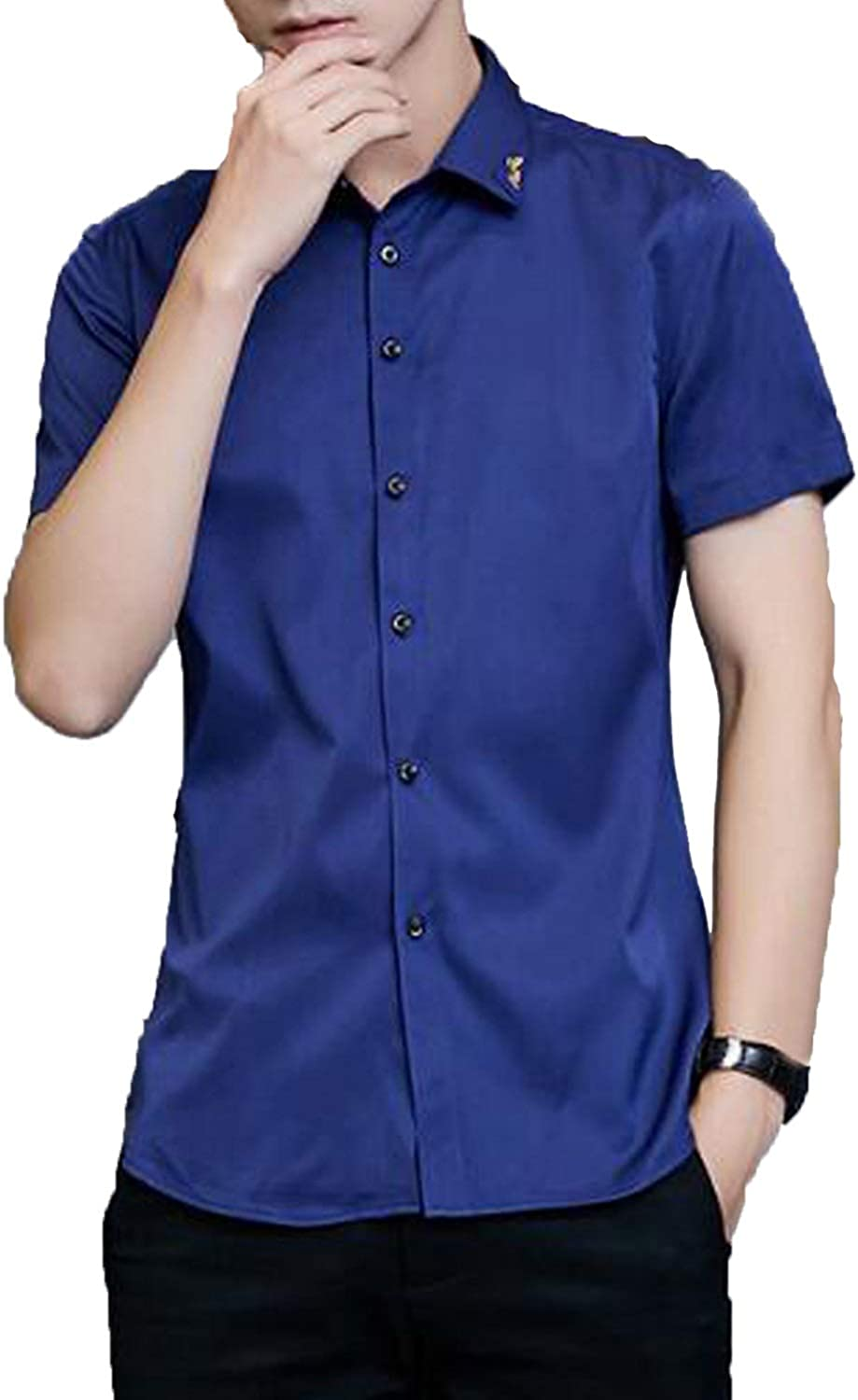 Zamtapary Men Button Down Shirts Summer Office Slim Short Sleeve Casual Shirt