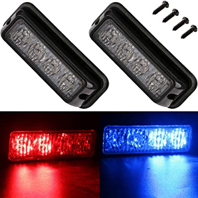 EverBrightt 2-Pack Red Blue Dual Colors 4 LED Car Flash Light DRL Truck Warning Caution Emergency Construction Strobe Light DC 12V-24V: Automotive