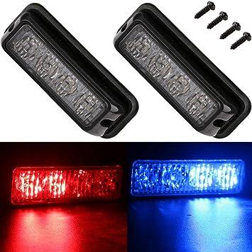 EverBrightt 2-Pack Red 3 LED Car Flash Light DRL Truck Emergency Strobe Flash Warning Light 12-24V