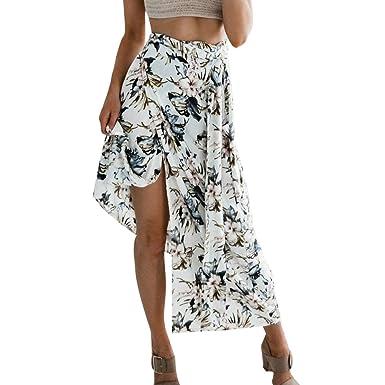 b74c118c8983a7 WanYangg Femme Ete Floral Imprimé Jupe Longue Fendue Taille Haute ...