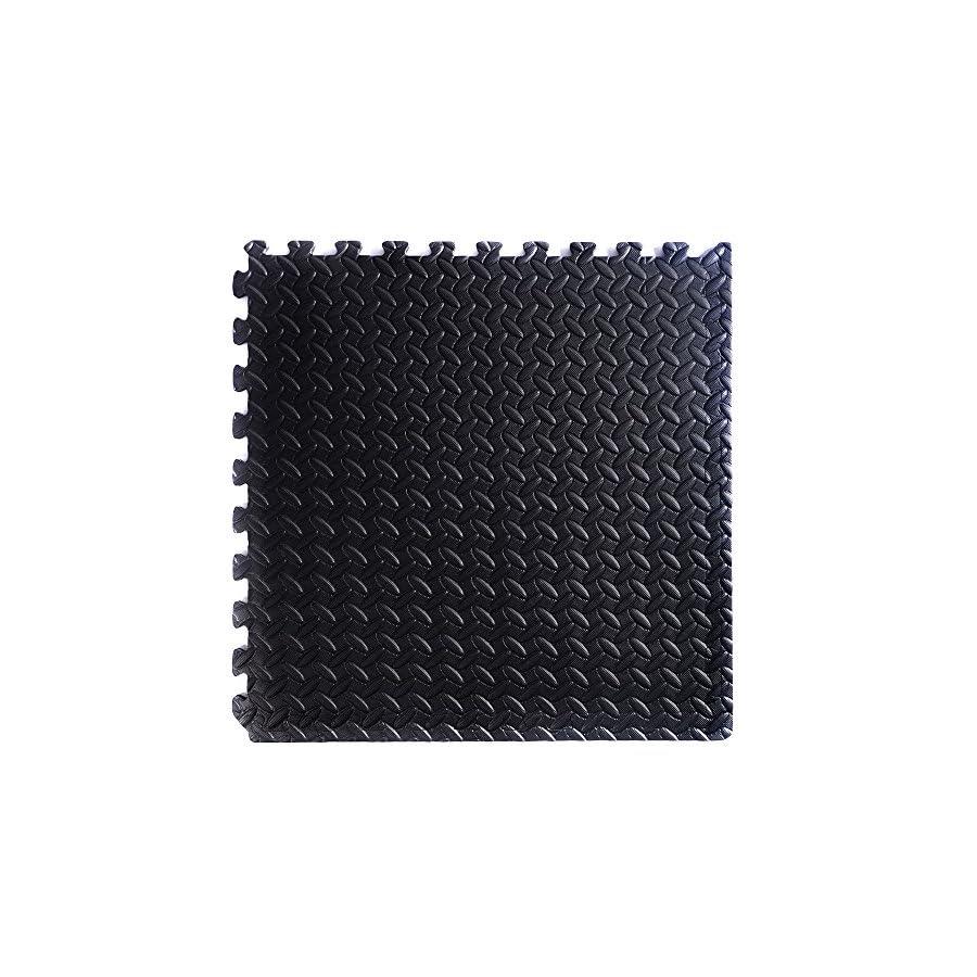 Interlocking EVA Foam Floor Mat Tiles Set | Gymnastics Exercise Flooring Gym Playground Mat | 42 Tiles 168 Sq Ft Black