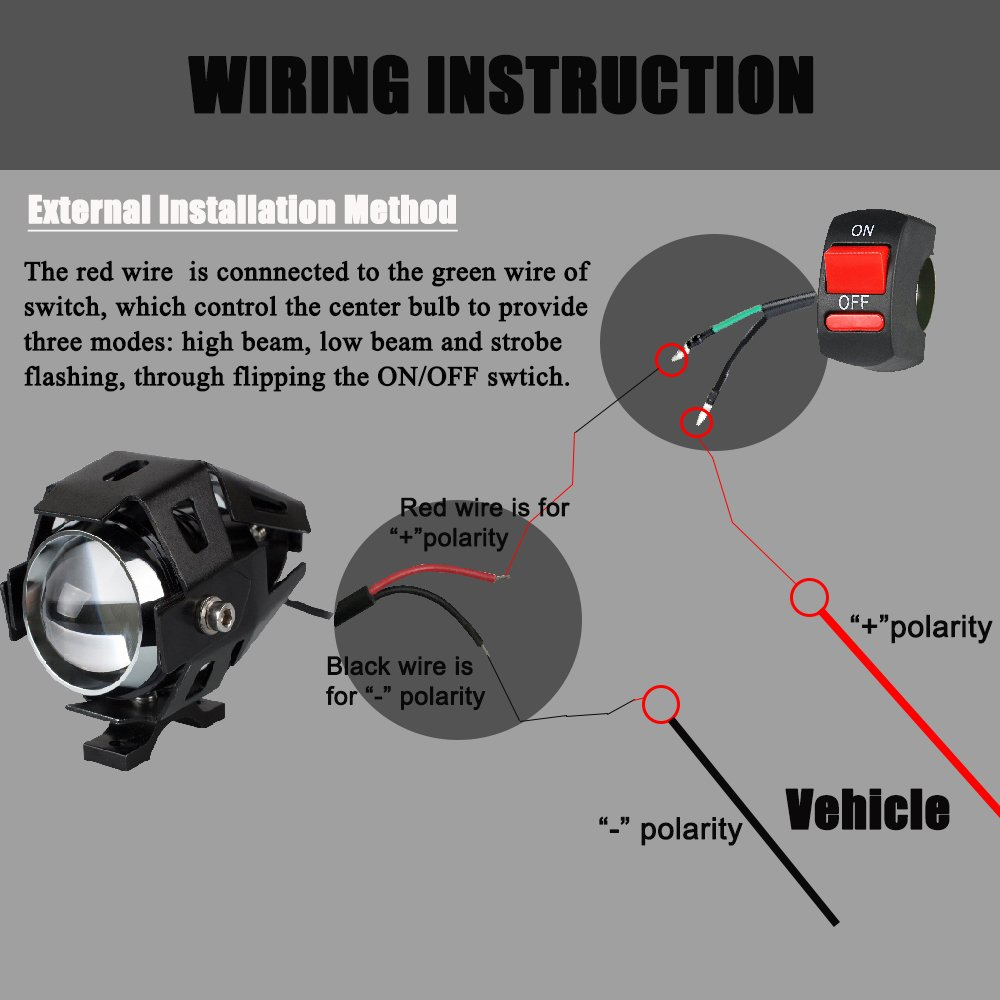 Motorcycle Headlight Cree U7 Led Fog Lights Spotlight Daytime Drl Wiring Instructions Running With Blue Angel Eyes Halo