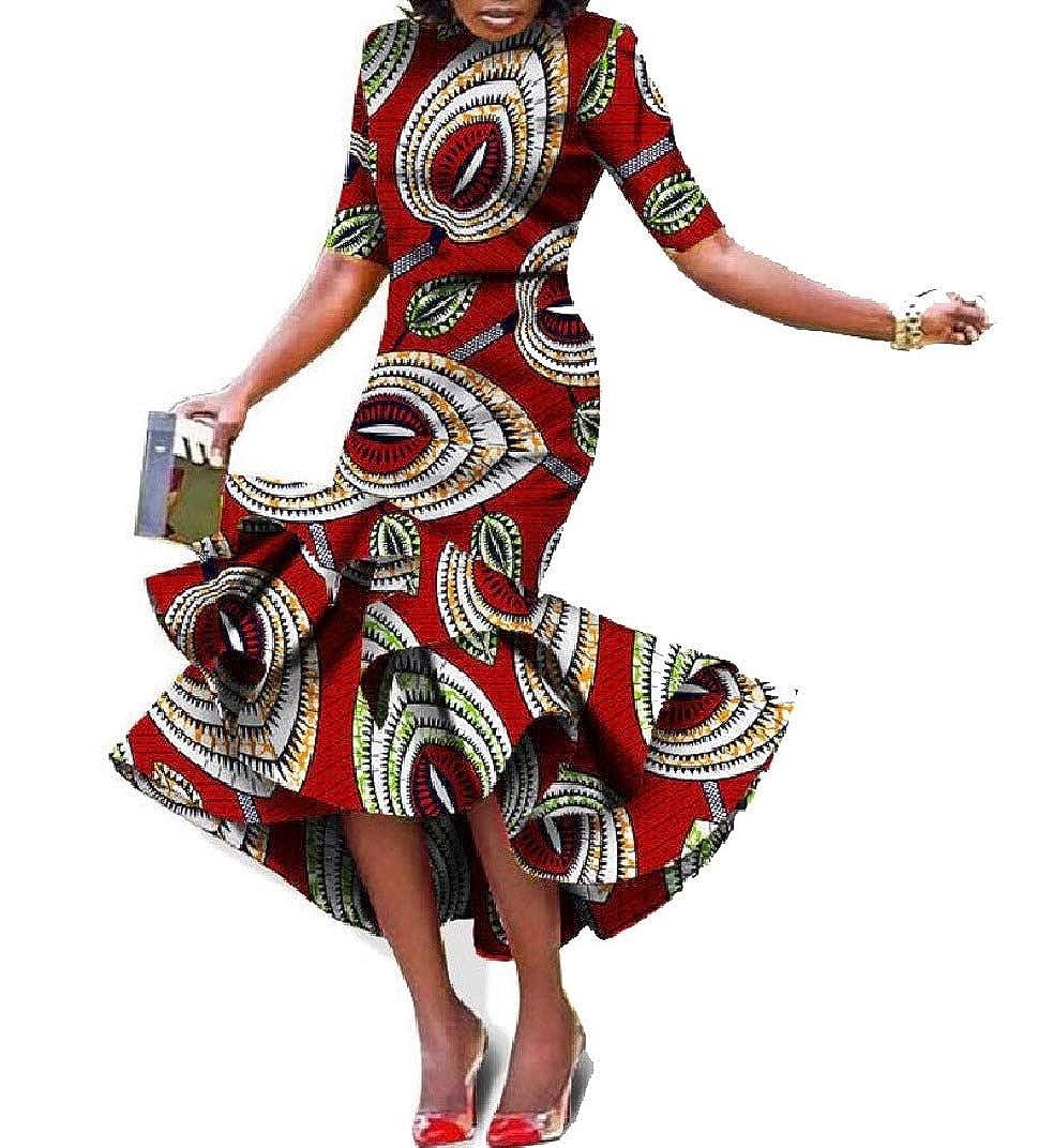 Pattern9 Abetteric Women Folk Style African Style Irregular Short Sleeve Ball Gown Maxi Dress