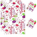 2 Sheets Gift Wrapping Paper & 2 Tags 50cm x 70cm Happy Birthday Girl D29