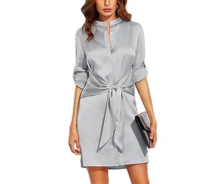 TOPHenry elegante outono dress vestidos curtos para as mulheres senhoras outono planície De Prata Em Torno
