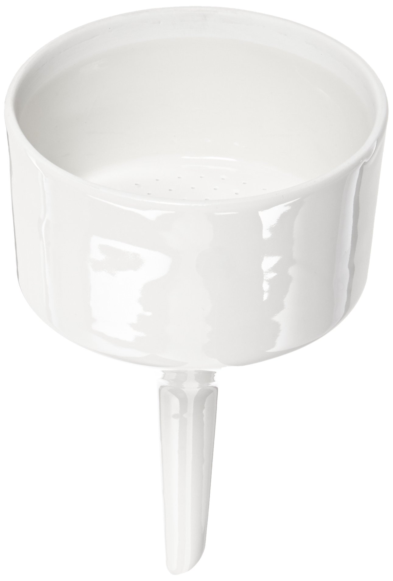 CoorsTek 60243 Porcelain Ceramic Buchner Funnel with Fixed Perforated Plate, 320mL Capacity, 160mm Height, 90mm Filter Paper Diameter