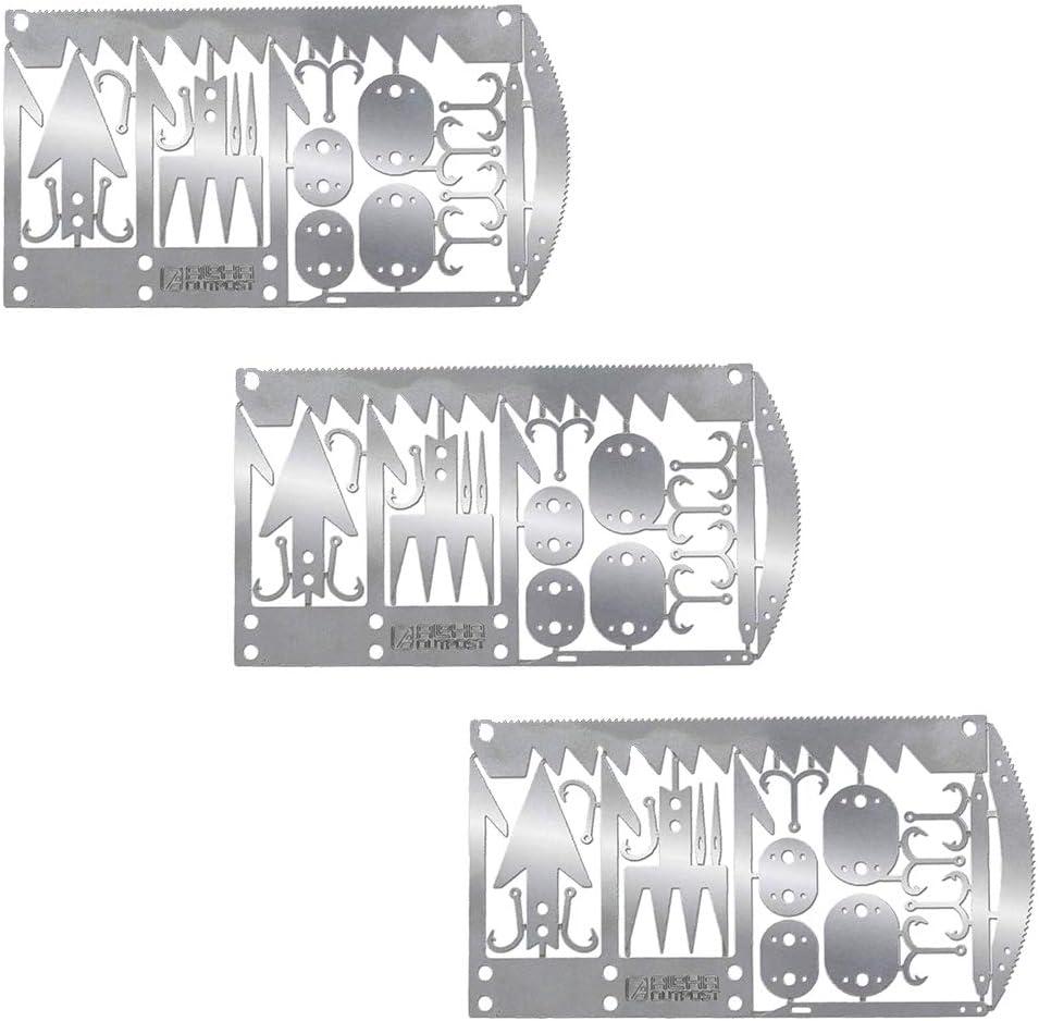 22 in 1 Fishing Gear Card Multi Fishhook Card Survival EDC Kit for OutdooALUK