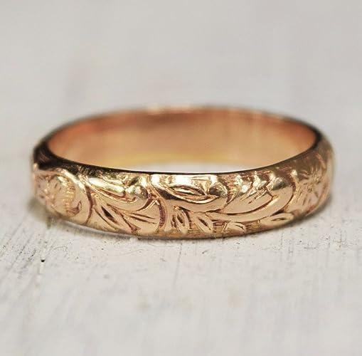 Amazon Bohemian Gold Floral Ring Gold Band 14K Yellow
