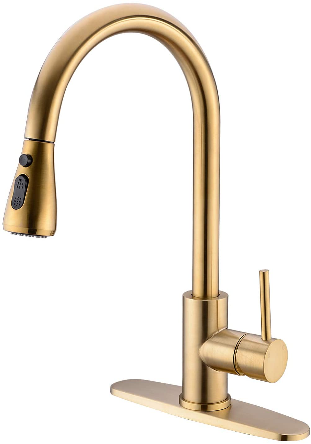 Trustmi Single Handle Kitchen Faucet With Pull Down Sprayer Head Brushed Brass Pull Out Bar Sink Faucet 360 Degree Swivel Spout With 3 Setting Sprayer And 10 Inch Deck Plate Brushed Gold Amazon Com