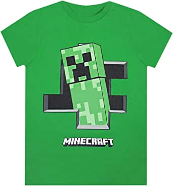 Official Minecraft Boys T-Shirt Creeper Inside Green Short Sleeve Gamers Top for Kids 11-12 Years