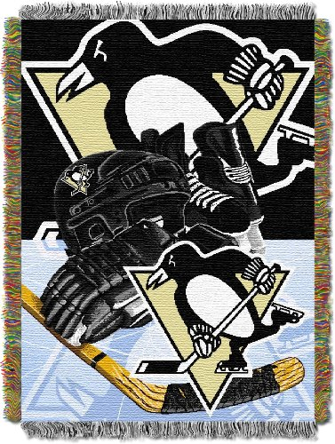 The Northwest Company Officially Licensed NHL Pittsburgh Penguins Homefield Ice Advantage Woven Tapestry Throw Blanket, 48