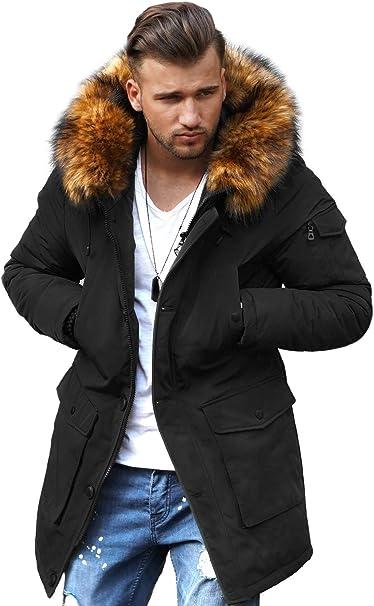 rello & reese winter parka mit fell-imitat jacke mantel e-7250