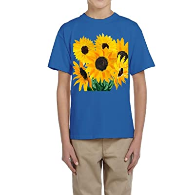 Huazh Youth Cotton T-Shirts Boys Sunflower Bouquet Athletic Shirt Short Sleeve Tees
