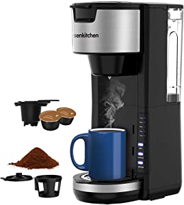 Singles Serve Coffee Makers For K Cup Pod & Coffee Ground, Mini 2 In 1 Coffee Maker Machines 30 Oz Reservoir Brew Strength Control Small Coffee Brewer Machine for office Home Kitchen- Black