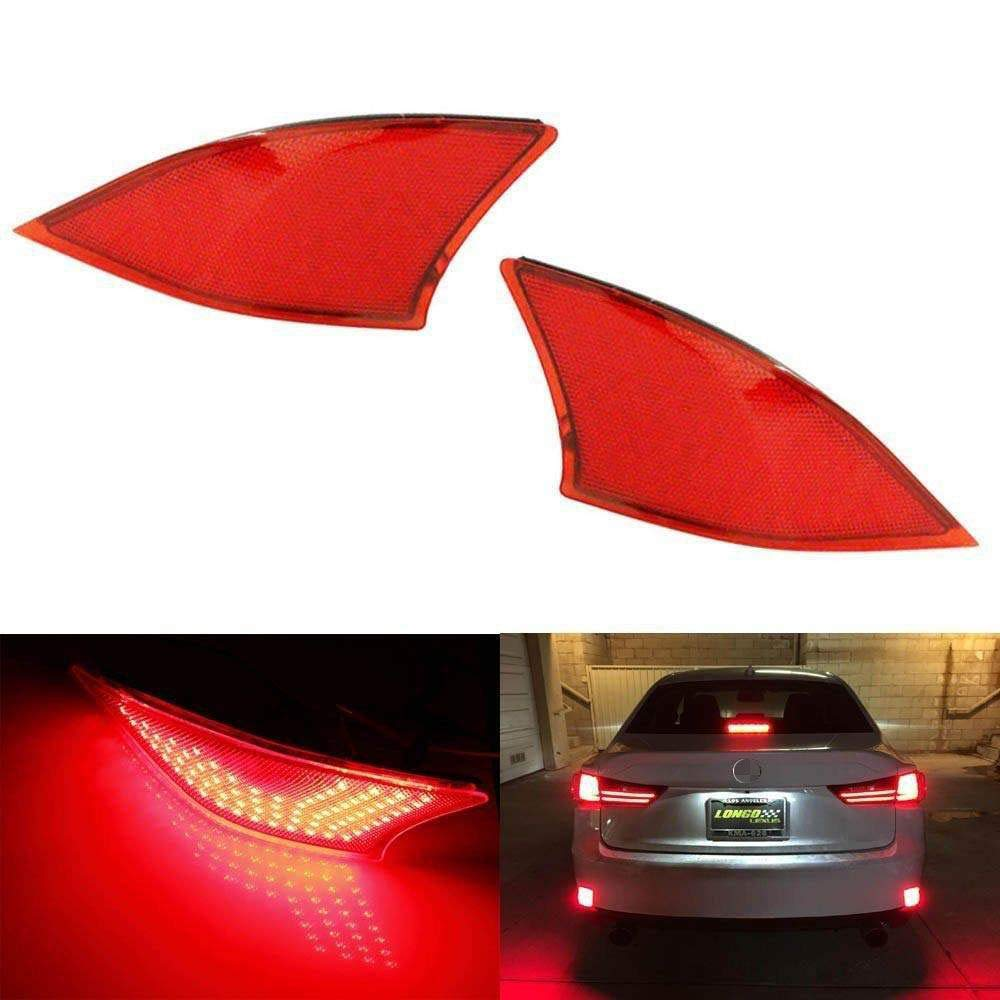 iJDMTOY Red Lens 69-SMD LED Bumper Reflector Lights for 2014-up Lexus IS250 IS350 IS200t IS300, Function as Tail, Brake & Rear Fog Lamps
