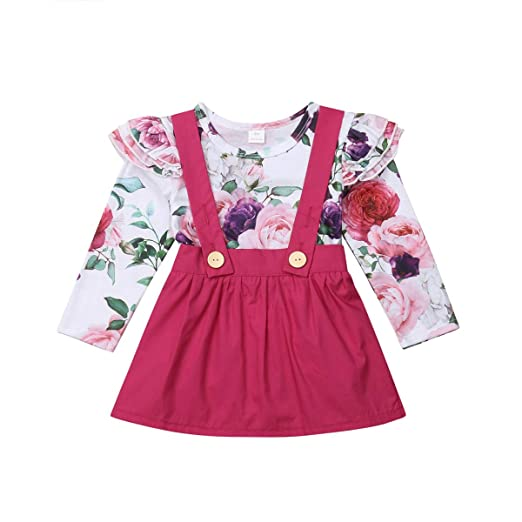 3265ed4693a Wassery Newborn Infant Baby Girl Romper Outfits Floral Print Romper with Strap  Skirt (70(