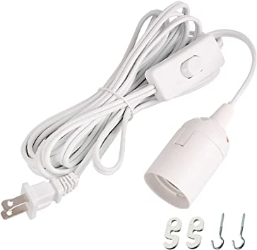 Simple Deluxe Extension Hanging Lantern Pendant Light Lamp Cord Cable E26/E27 Socket (no Bulb Included) On/Off Switch, 20 Feet, 1 Pack, White