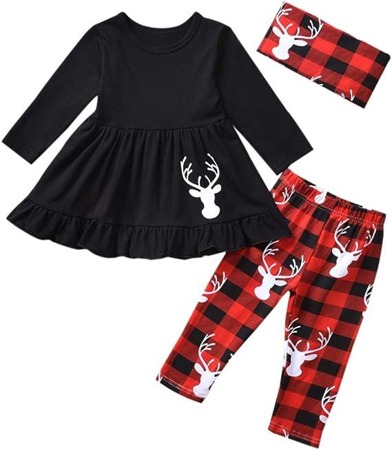 Beb/é Ni/ñas Rojo Vestido De Cuadros De Navidad Infantil Volantes Manga Larga Falda Trajes De Ni/ños Ropa De Algod/ón
