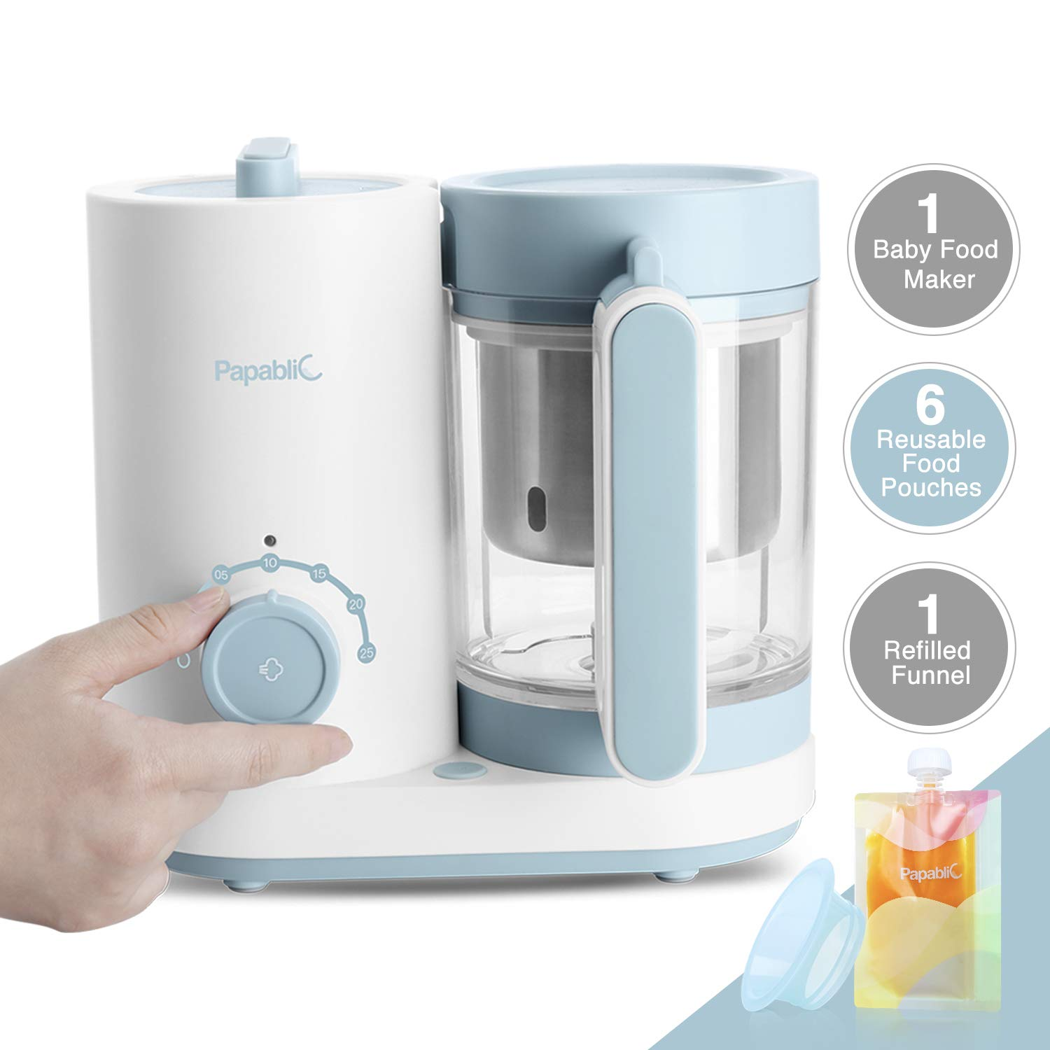 Papablic All-in-1 Baby Food Maker - Steam Cooker & Blender, Puree Grinder, Comes with 6 Reusable Meal Storage Pouches, Stainless Steel Steam Basket and Rice Cooker