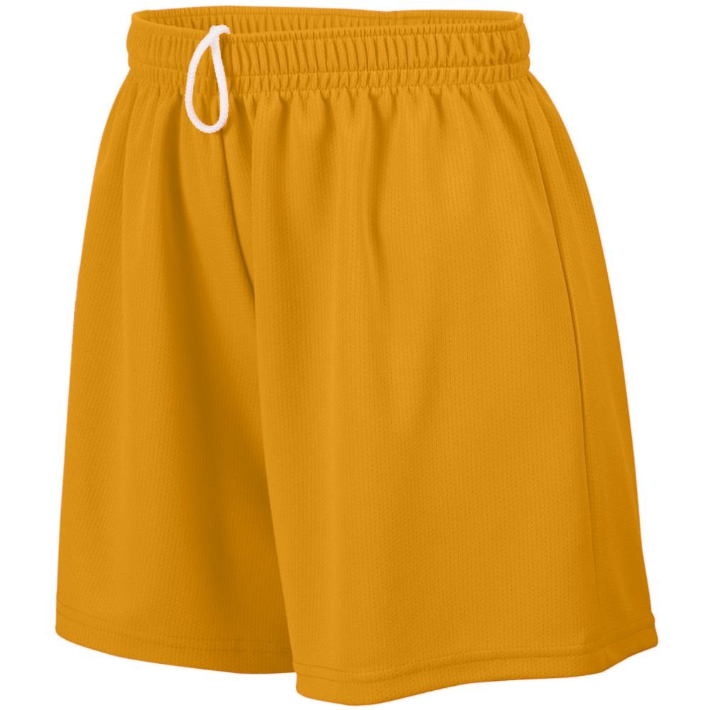 STYLE 960 LADIES WICKING MESH SHORT (SMALL, GOLD)