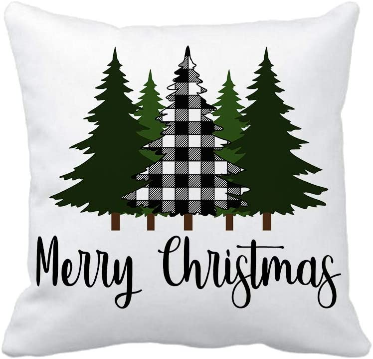 Black and White Buffalo Checkered Pine Tree Christmas Pillow Cover