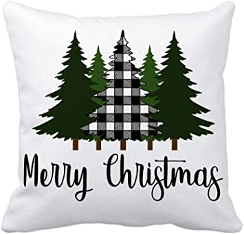 4TH Emotion Christmas Saying Merry Christmas Throw Pillow Cover Black White Buffalo Check Tree Cushion Case for Sofa Couch 18x18 Inches Cotton ...