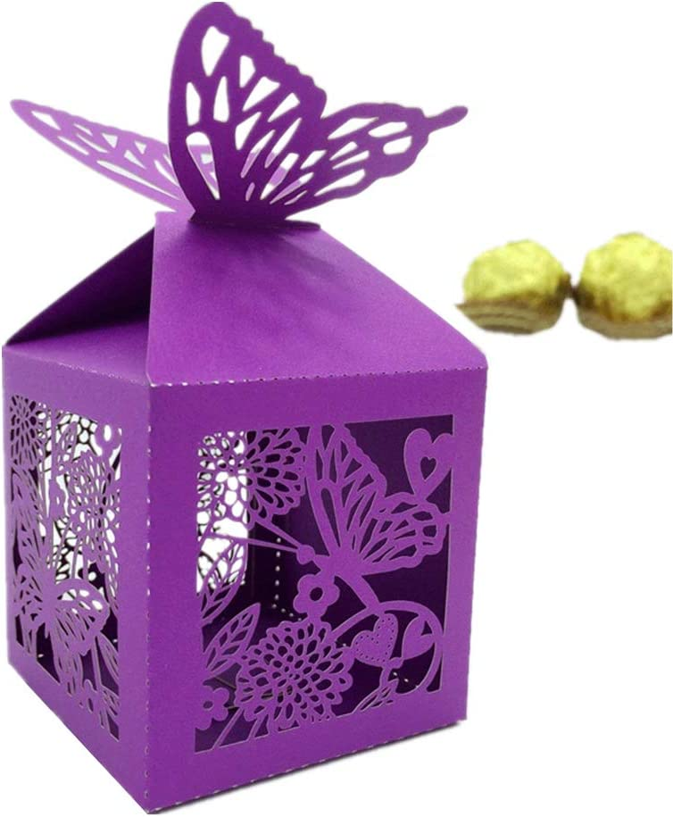 the love 50 Pcs Laser Cut Flower and Butterfly Creative Chocolate Box Wedding Favors Candy Boxes Gifts Box Marriage Party Decors (Purple)