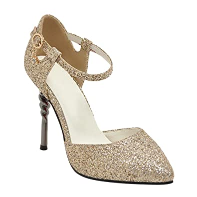 90578d80a78 Amazon.com | Carolbar Women's Shiny Sequins Pointed Toe Wedding ...