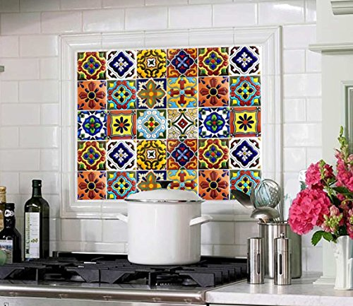 SnazzyDecal Tile Stickers Mexican Spanish 40pc 4-1/4in Peel and Stick for Kitchen and Bath Tr001-4Q by SnazzyDecal (Image #4)