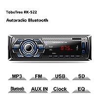 TobeTree Autoradio Bluetooth, 60W x 4 Auto Stereo Audio Ricevitore FM Microfono Incorporato, Universal Lettore MP3/ USB/SD/ AUX, Telecomando