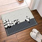 GoHEBE Cartoon Panda Playing on the Wooden Bath Rugs Non-Slip Doormat Floor Entryways Outdoor Indoor Front Door Mat Kids Bath Mat 15.7x23.6in Bathroom Accessories